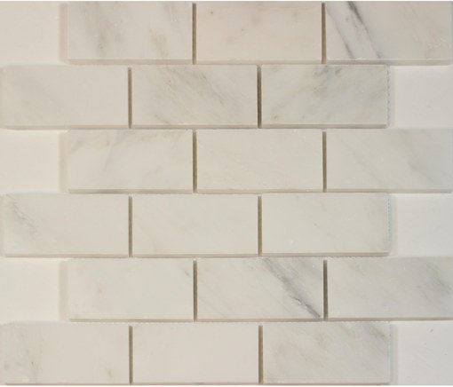 Oriental White 2x4 Brick Polished Marble Mosaic