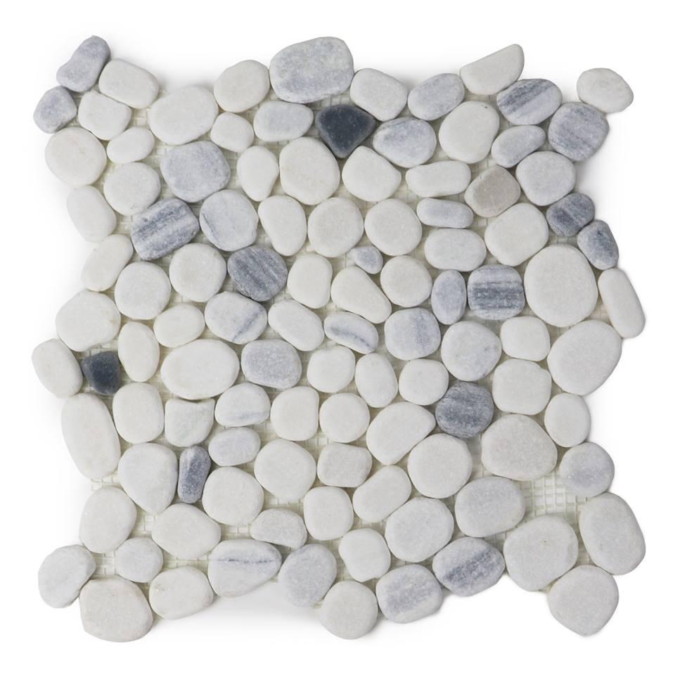 Chinese Zebra White 12x12 Honed Flat Pebble