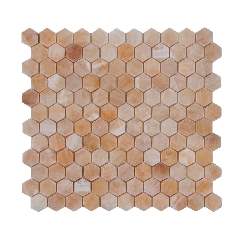 Pineapple Onyx Hexagon 1x1 Polished Mosaic