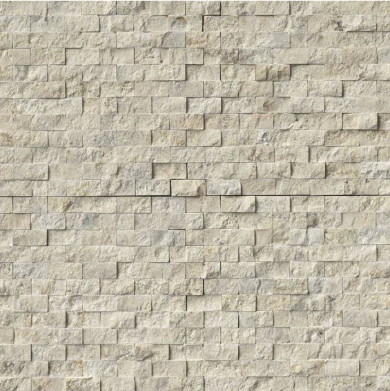 Puebla Beige 1x2 Splitface in 12x12 Mesh Travertine Mosaic