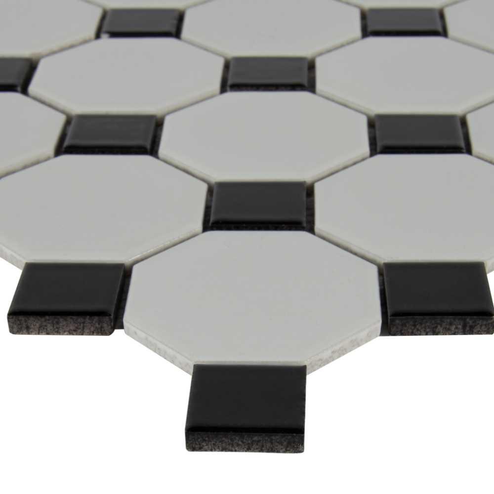 Retro Bianco Octagon Glossy White And Black Porcelain Mosaic Tile