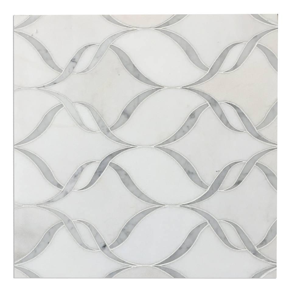 Waterjet Lux Thassos White Carrara 14X17 Polished Mosaic