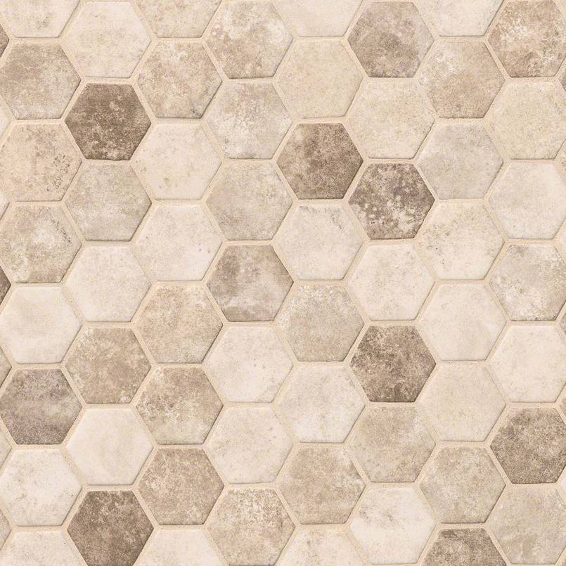 Sandhills Hexagon Pattern Recycled Glass Mosaic