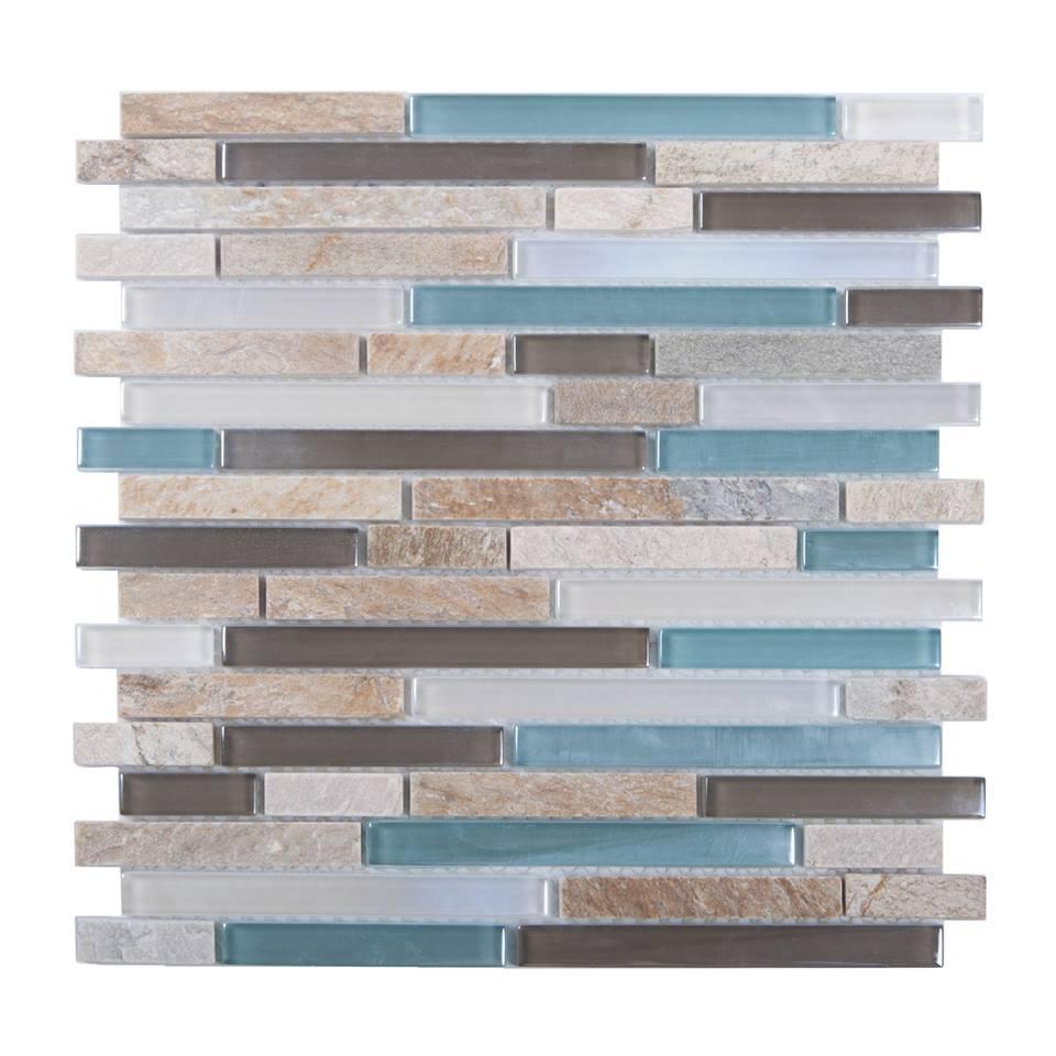 Santiago 12x12 Glass Mix Random Strip Mosaic