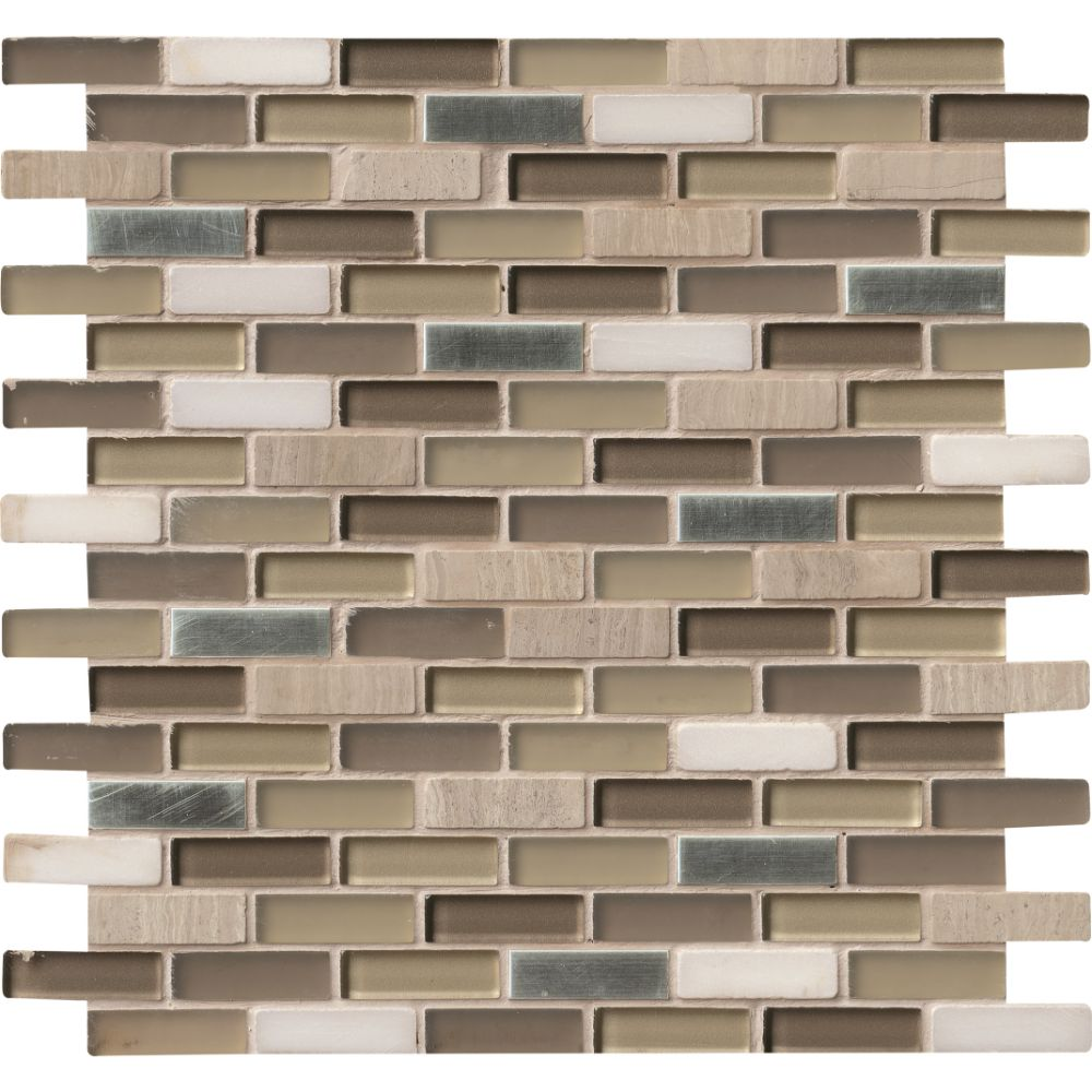 Silver Tip Pattern Blend Glass Mix Stone Metal Mosaic