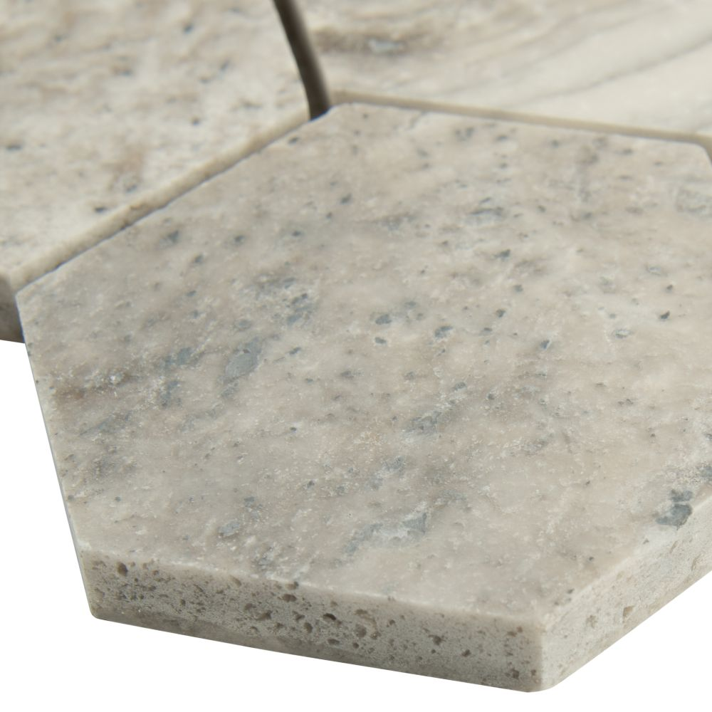 Silver Travertine 3x3 Honed Hexagon Mosaic
