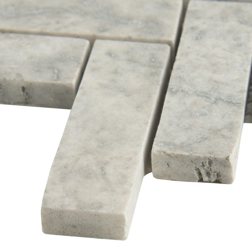 Silver Travertine Herringbone Pattern Honed Tile