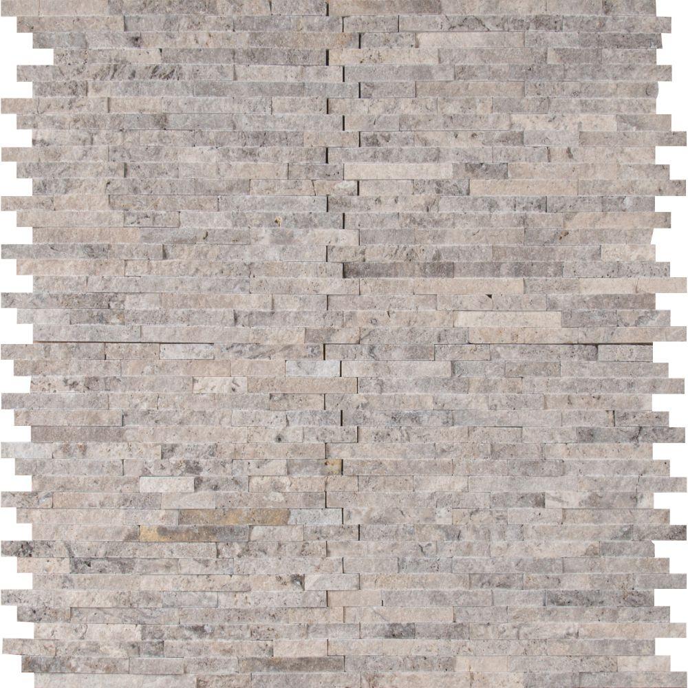 Silver Travertine Splitface Pattern Marble Tile