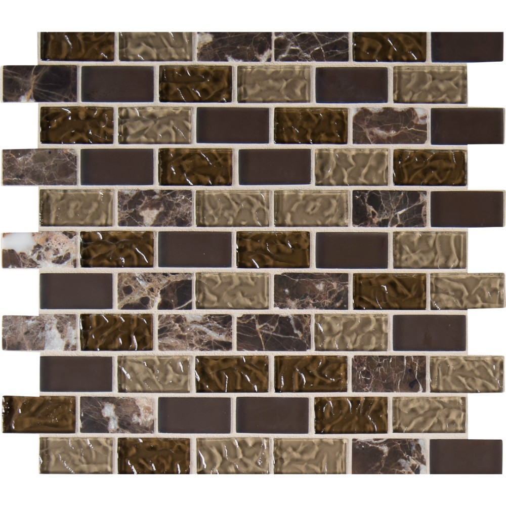 Sonoma Blend 1X2X8MM Glass Stone Mosaic
