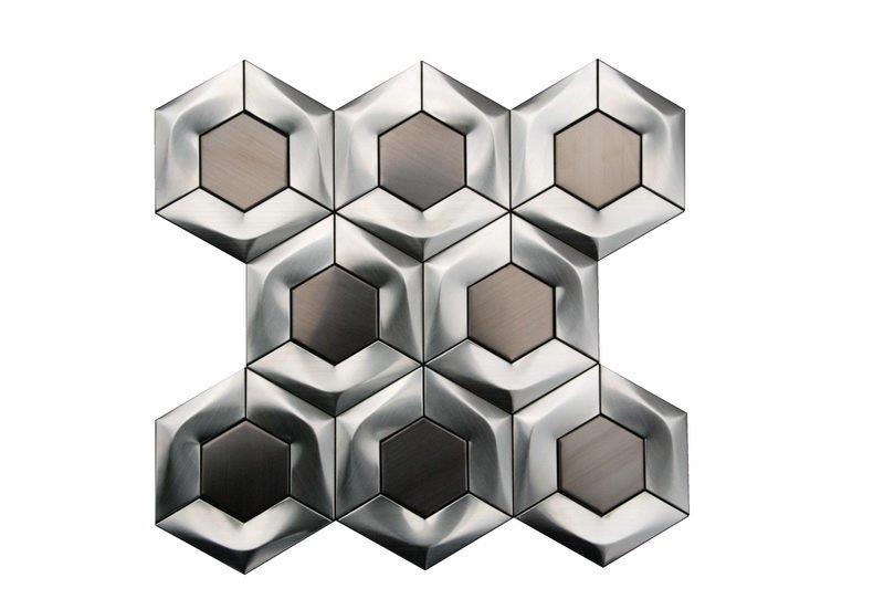 Stainless Steel 3D Interlocking 4x4 Brushed Hexagon Mosaic