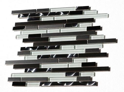 Stainless Steel LDW Glass Mix 12x12 Interlock Mosaic