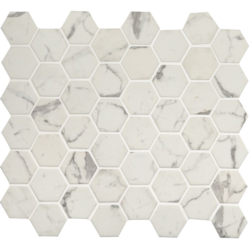 Statuario Celano 2X2 Hexagon Recycled Glass Mosaic