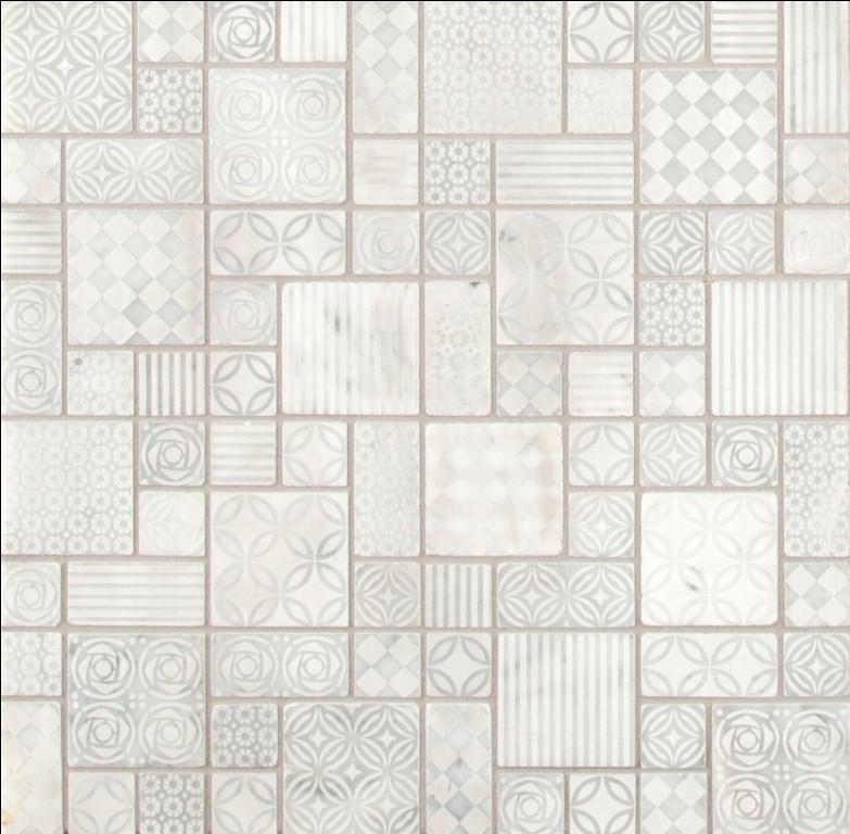 Tetris Blanco Pattern Honed Marble Mosaic