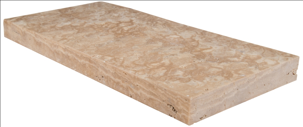 Tuscany Beige 12X24X2 Honed Unfilled Brushed Bullnose Coping