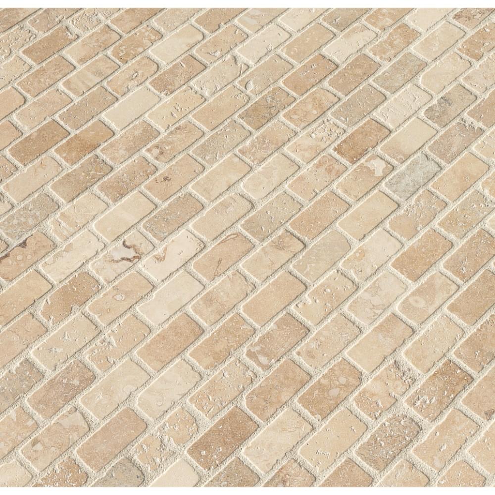 Tuscany Classic 1x2 Brick Tumbled Travertine Mosaic