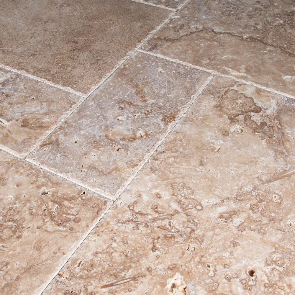 Tuscany Walnut 16 Sft Honed Unfilled Chiseled French Pattern Tile