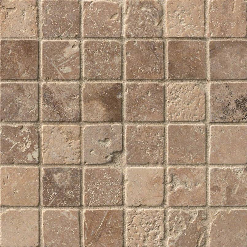Tuscany Walnut 2x2 Tumbled Travertine Mosaic