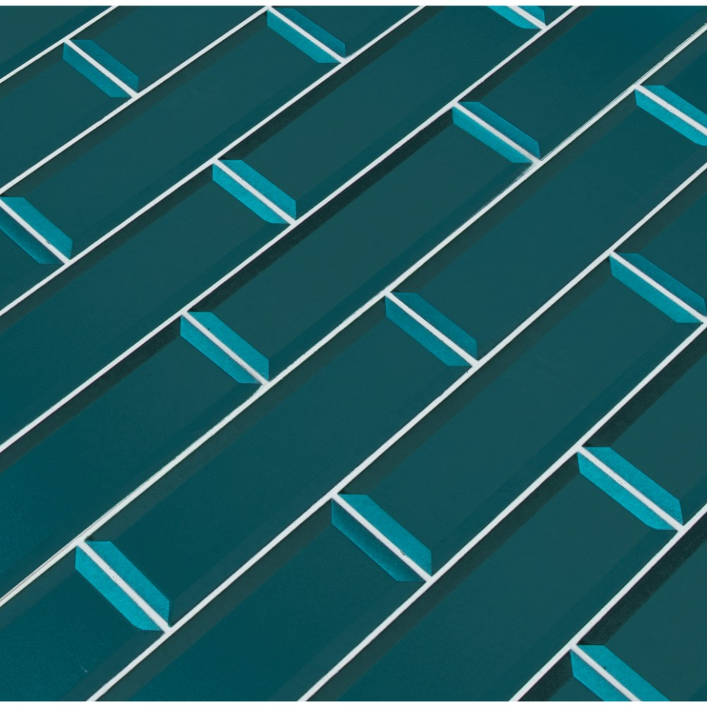 Verde Azul 2.5x8 Beveled Glass Subway Tile
