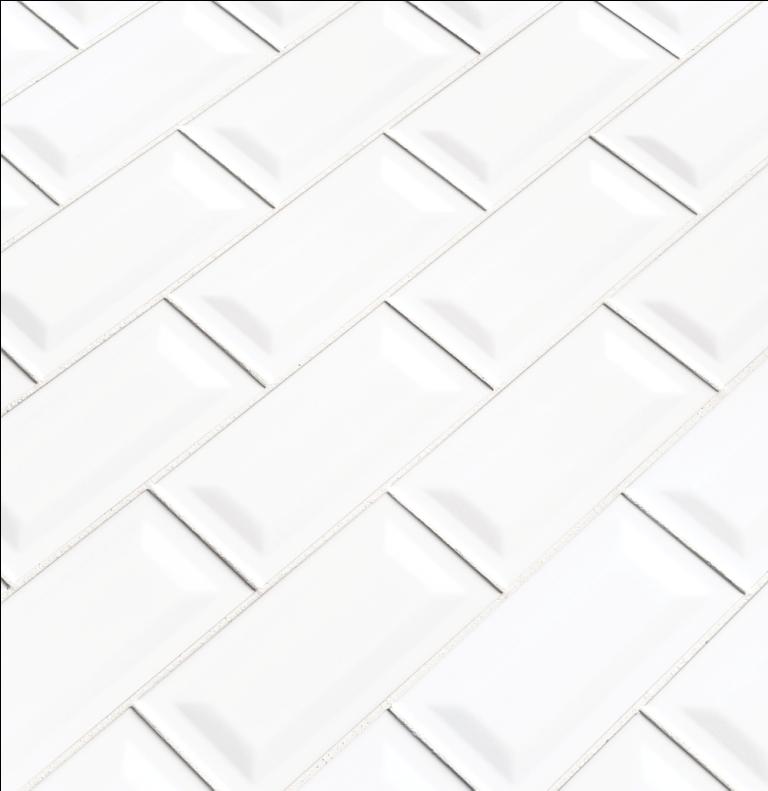 White Glossy 3X6 Inverted Beveled Subway Tile