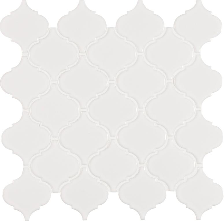 White Hudson Glossy Arabesque Pattern Mosaic