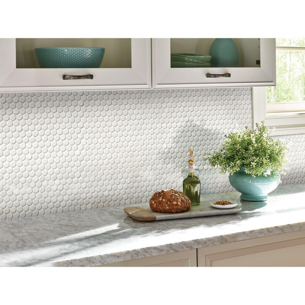 White Hudson Penny Round Glossy 12X12 Porcelain Mosaic