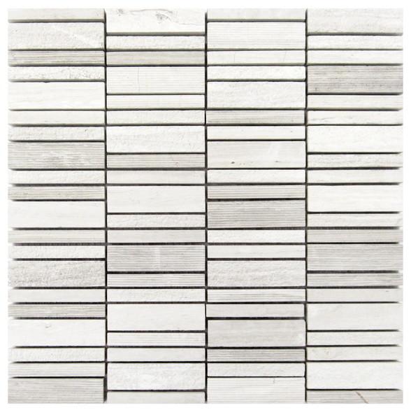 White Oak 12x12 Hammered Mosaic