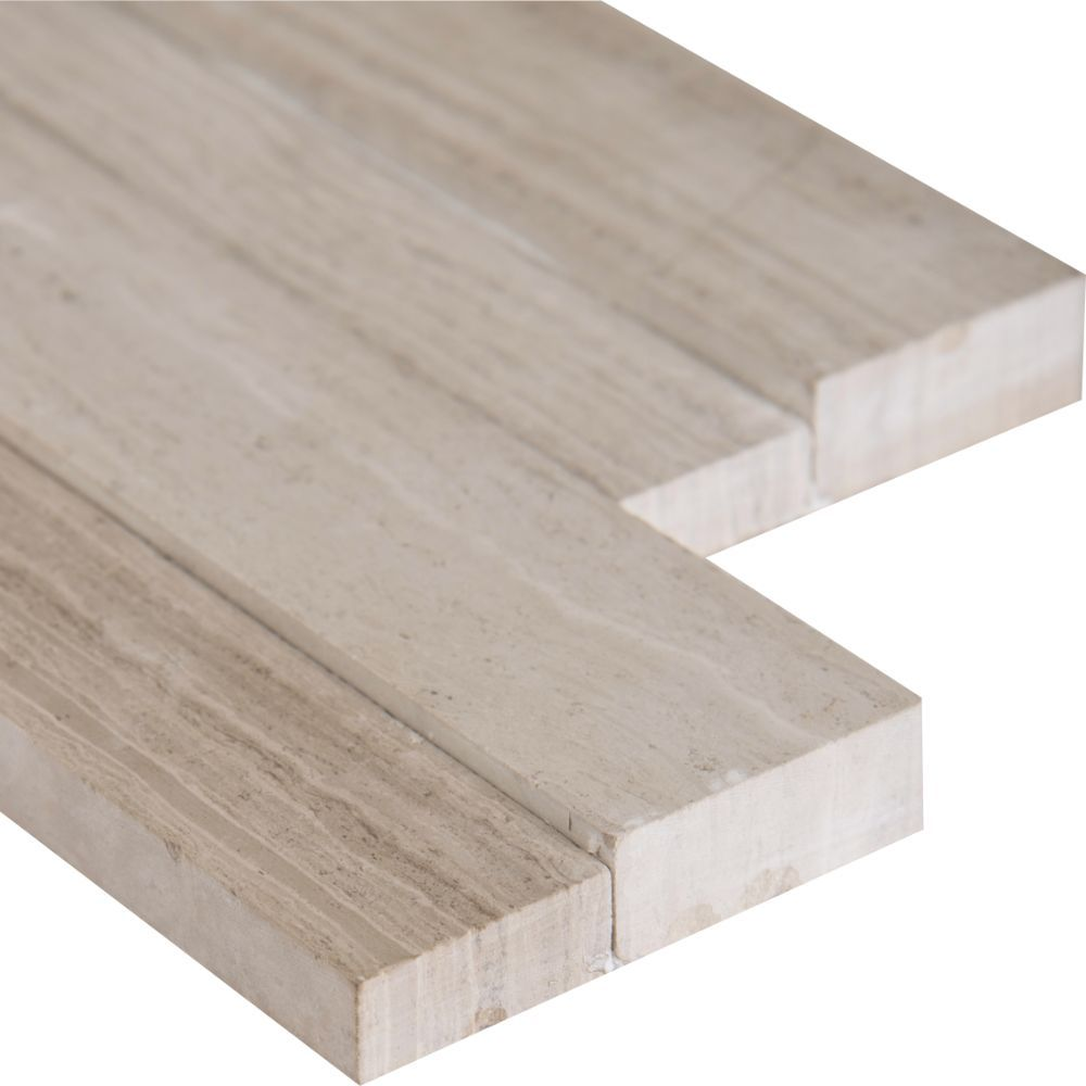White Oak 4.5x16 3D Honed Mini Ledger Panel