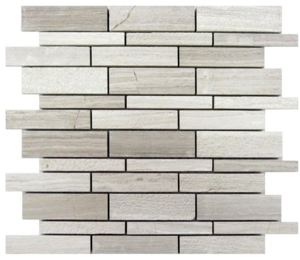 White Oak Lazy Brick 12x12 Mosaic