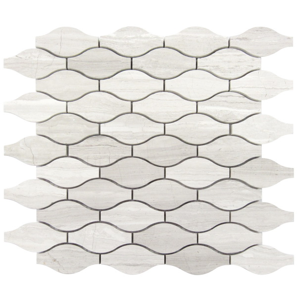 White Oak Truffle Wave Pattern Marble Mosaic