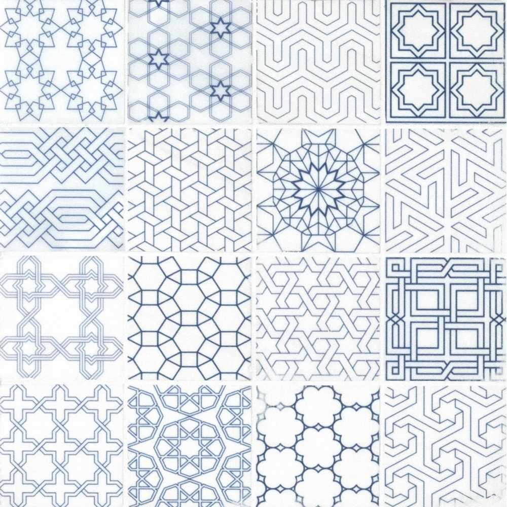 Zouli Stak 3X3 Honed Encaustic Pattern Marble Mosaic Tile
